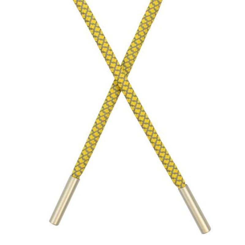 Шнур круглый п/э светоотражающий 0,5*120см с наконечником, цв: желтый