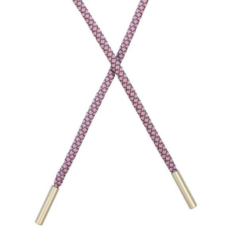 Шнур круглый п/э светоотражающий 0,5*120см с наконечником, цв: розовый