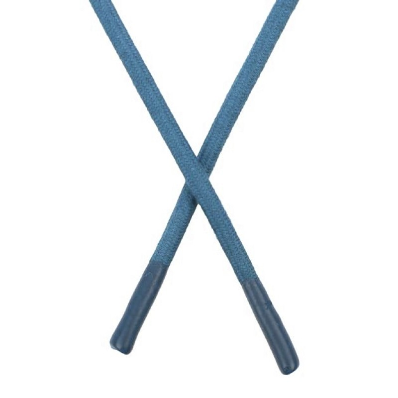 Шнур круглый хлопок 0,6*150см с наконечником, цв:синяя дымка