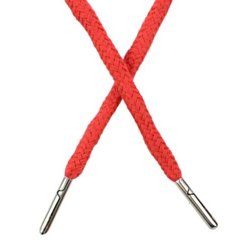 Шнур круглый хлопок 0,5*133см с наконечником, цв: оранжево-красный