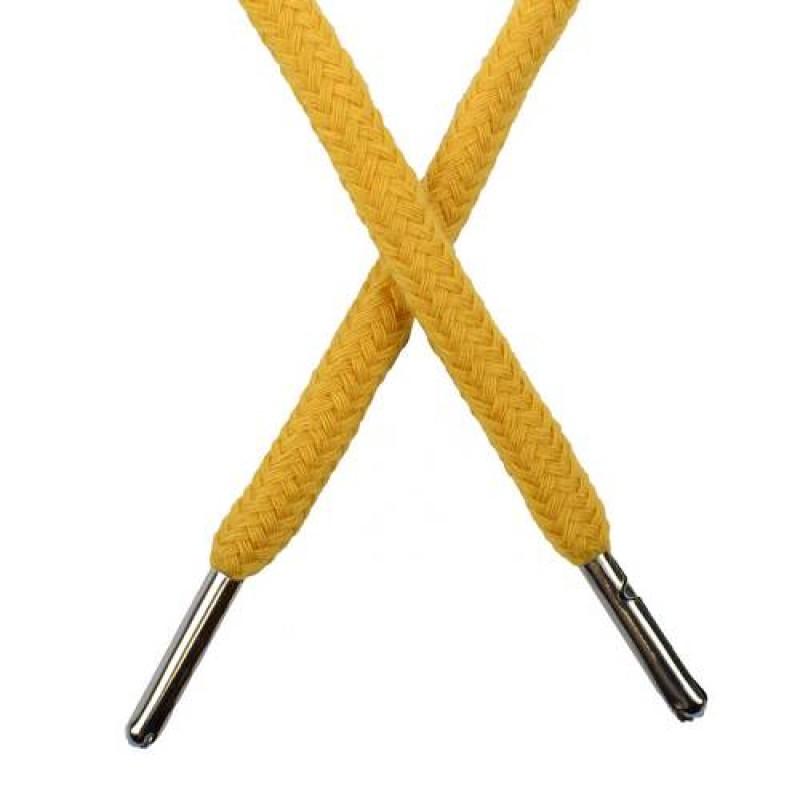 Шнур круглый хлопок 0,5*133см с наконечником, цв: золотой