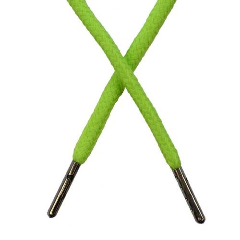Шнур круглый хлопок 0,5*133см с наконечником, цв: травяной неон