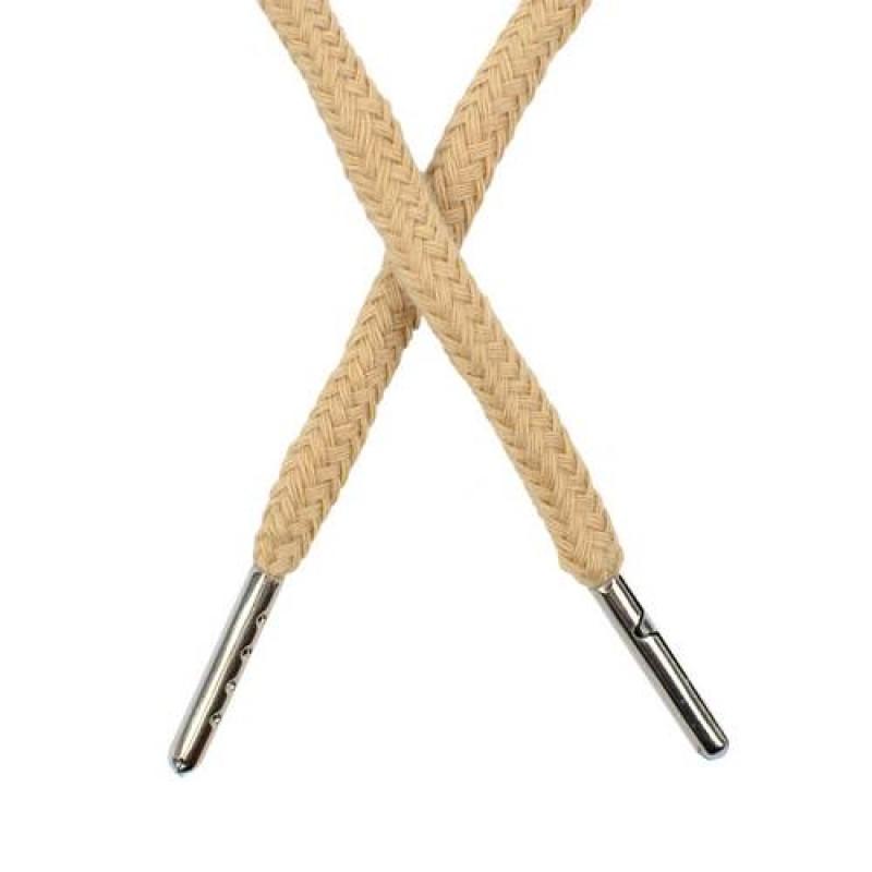 Шнур круглый хлопок 0,5*133см с наконечником, цв: крем-брюле