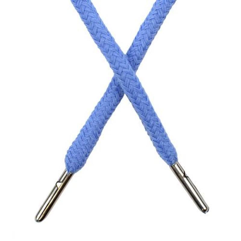 Шнур круглый хлопок 0,5*133см с наконечником, цв: голубая лазурь