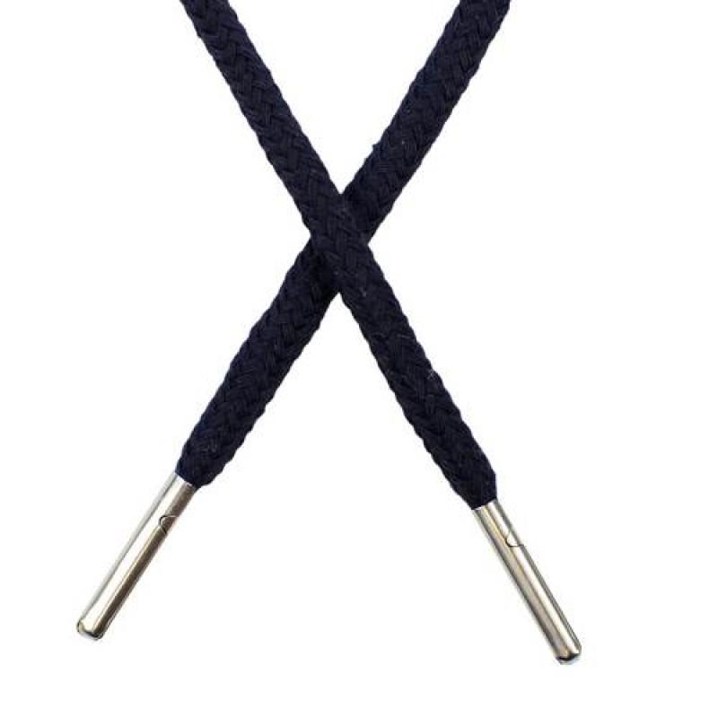 Шнур круглый хлопок 0,5*133см с наконечником, цв: тёмно-синий