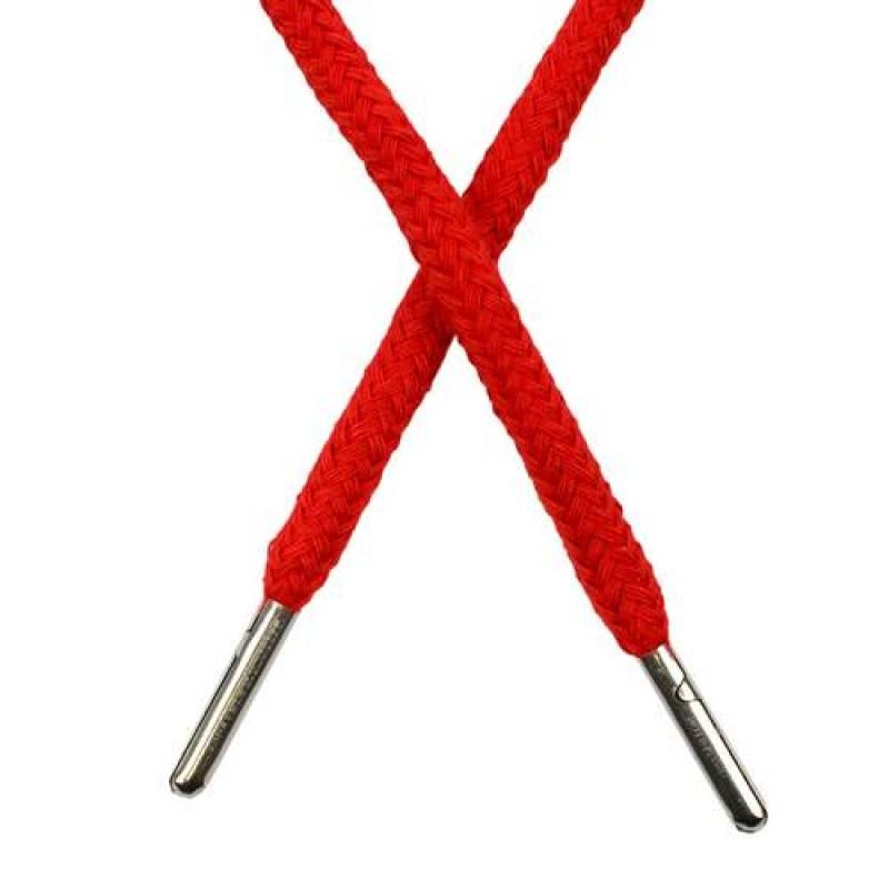 Шнур круглый хлопок 0,5*133см с наконечником, цв: красный
