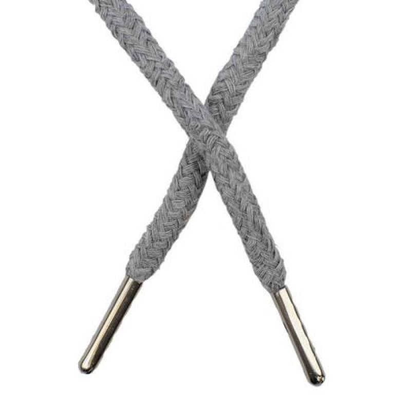 Шнур круглый хлопок 0,5*133см с наконечником, цв: светло-серый меланж