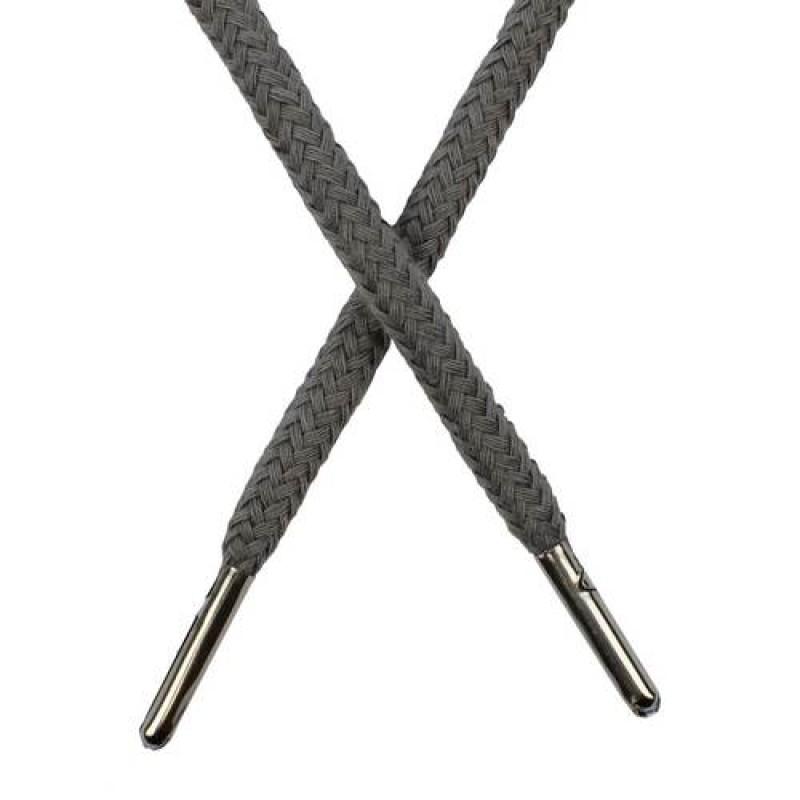 Шнур круглый хлопок 0,5*133см с наконечником, цв: серый