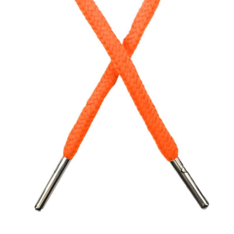Шнур круглый хлопок 0,5*133см с наконечником, цв: оранжевый неон