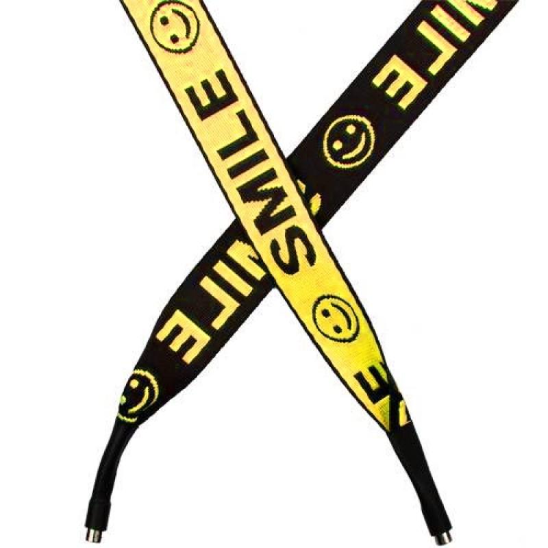 Шнур плоский п/э 2,5*135см с наконечником, цв: желтый