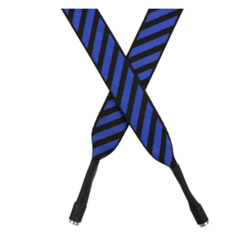 Шнур плоский полиэстер 2*120см с наконечником, цв:синий/белый