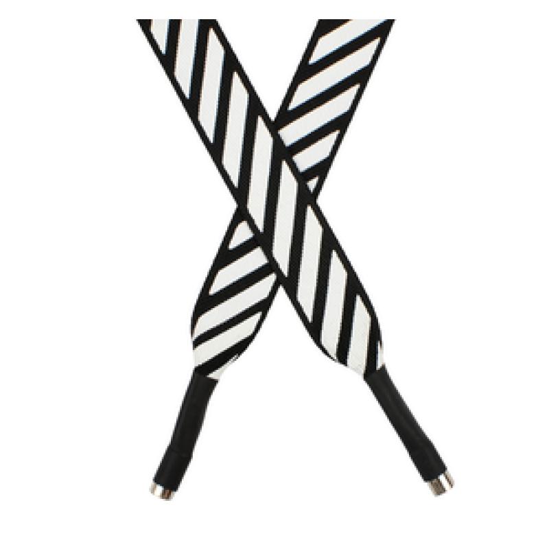 Шнур плоский полиэстер 2*120см с наконечником, цв:черный/белый