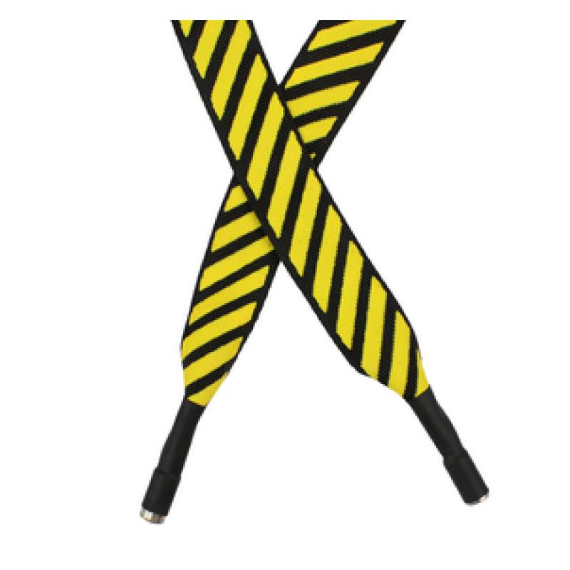 Шнур плоский полиэстер 2*120см с наконечником, цв:желтый/белый