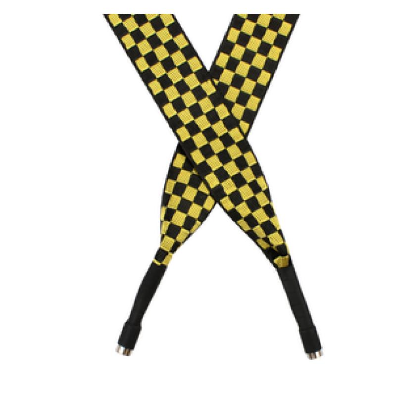 Шнур плоский полиэстер 2,5*130см с наконечником, цв: желтый/черный