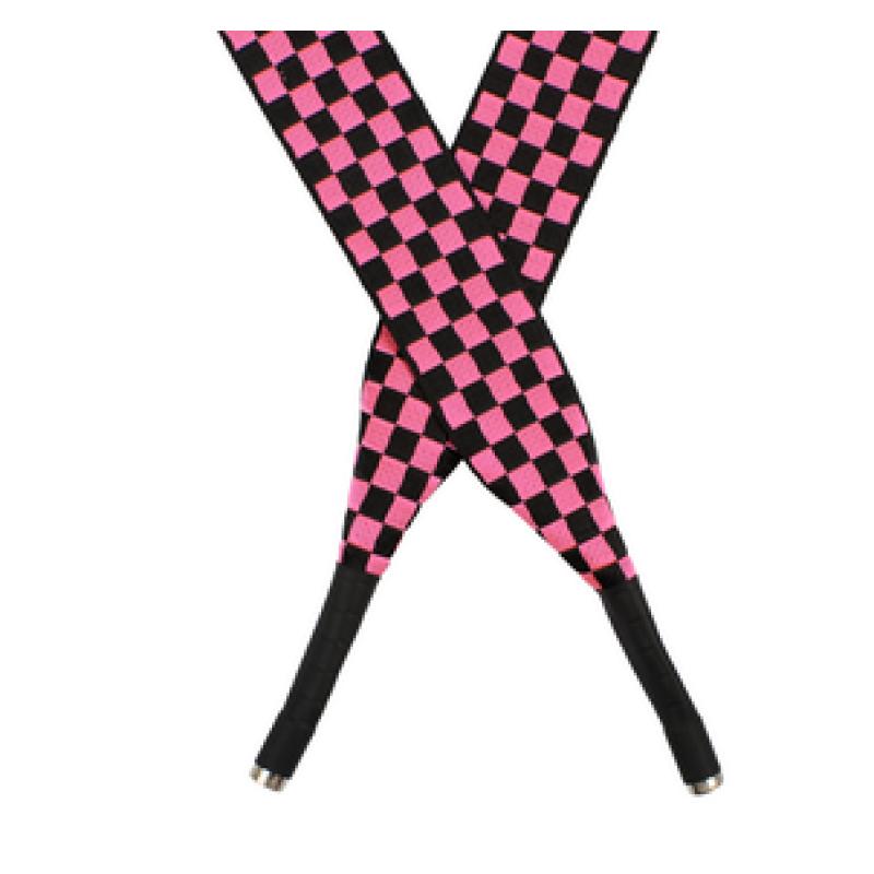 Шнур плоский полиэстер 2,5*130см с наконечником, цв:фуксия/черный