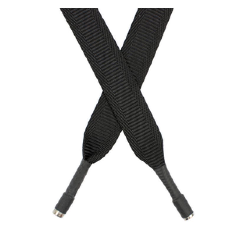 Шнур плоский п/э 2*135 см с наконечником, цв: черный