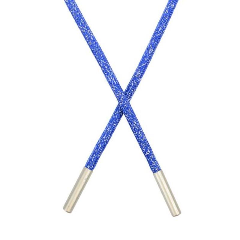 Шнур круглый полиэстер люрекс 0,5*135см, цв: синий