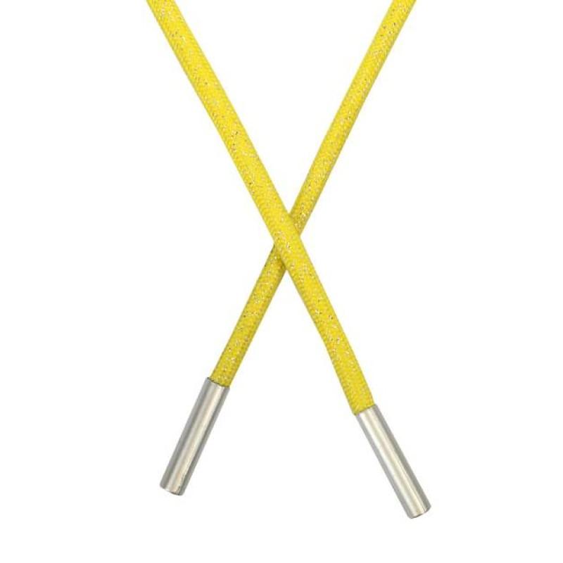 Шнур круглый полиэстер люрекс 0,5*135см, цв: желтый