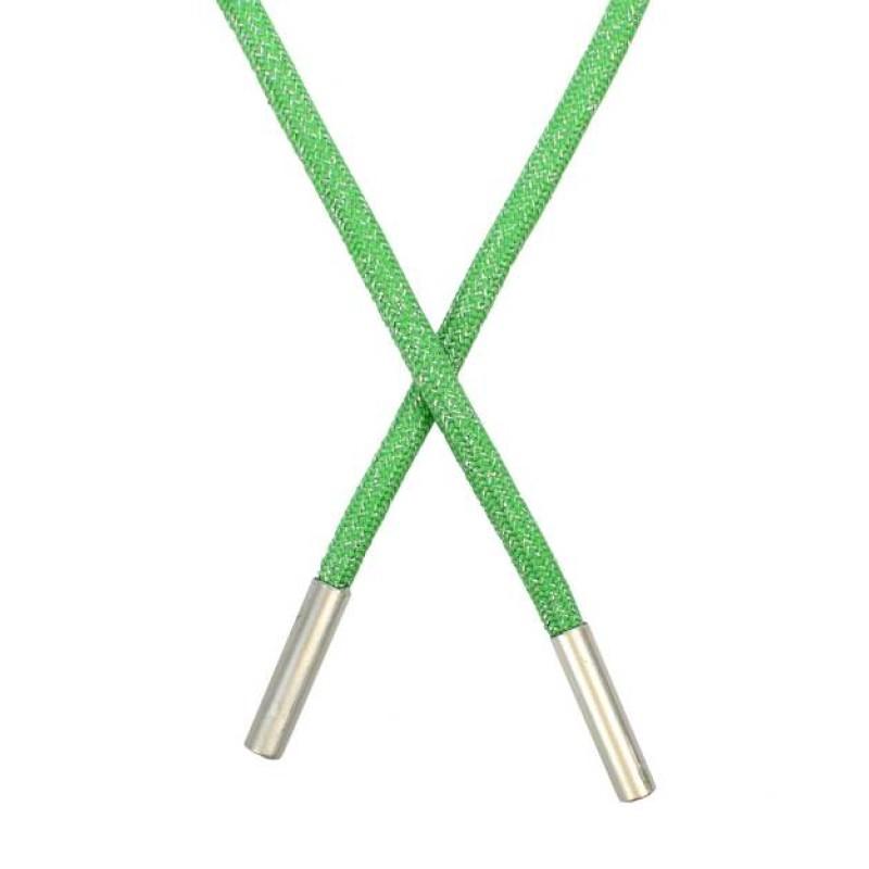 SALE Шнур круглый полиэстер люрекс 0,5*130см, цв: зеленый