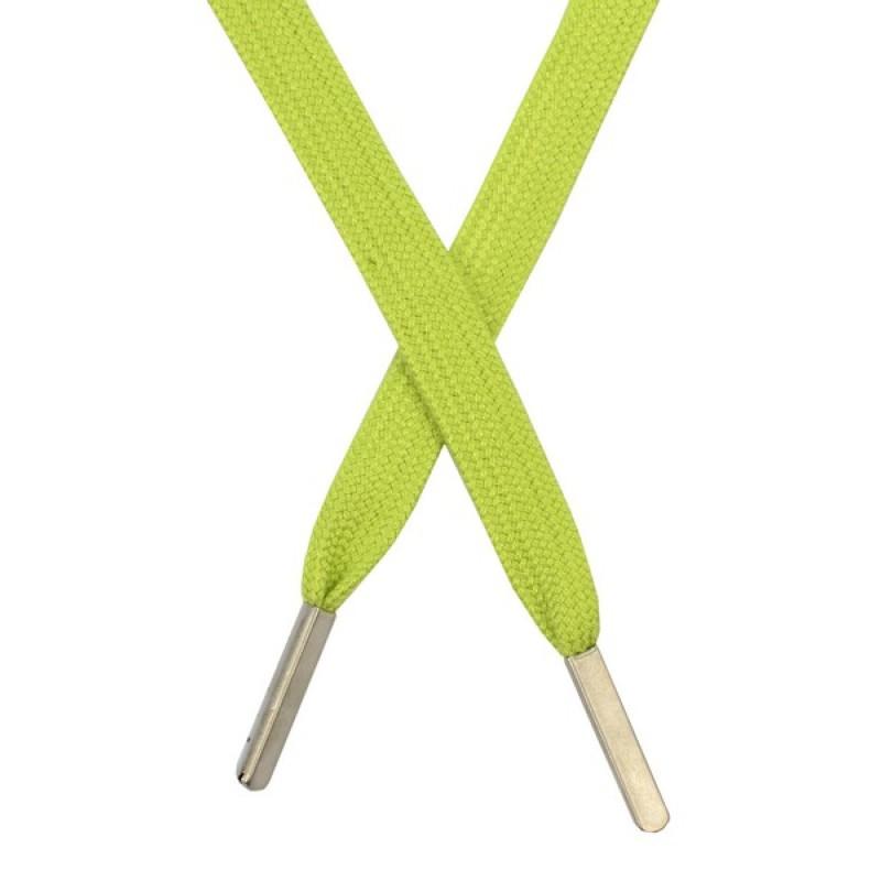 Шнур плоский хлопковый 1,2*130см, с наконечником, цв: салатовый