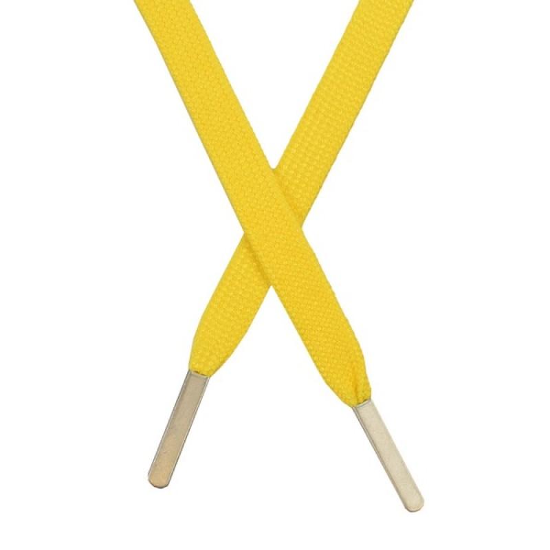 Шнур плоский хлопковый 1,2*130см, с наконечником, цв: желтый