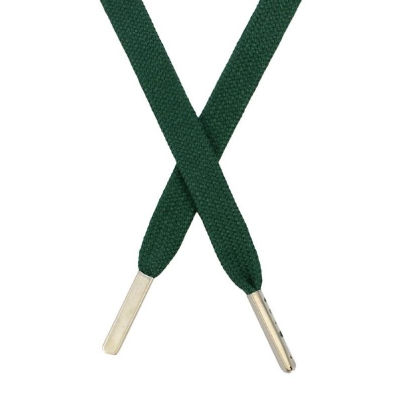 Шнур плоский  хлопковый 1,2*130см, с наконечником, цв: изумрудный