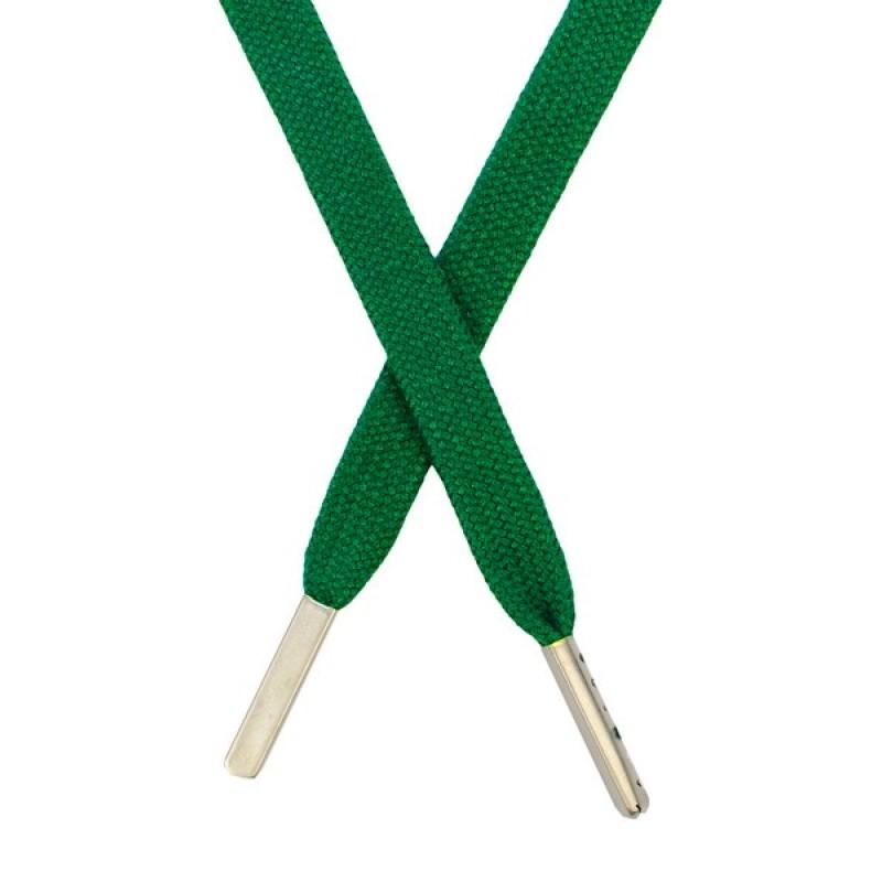 Шнур плоский хлопковый  1,2*130см, с наконечником, цв: ярко-зеленый