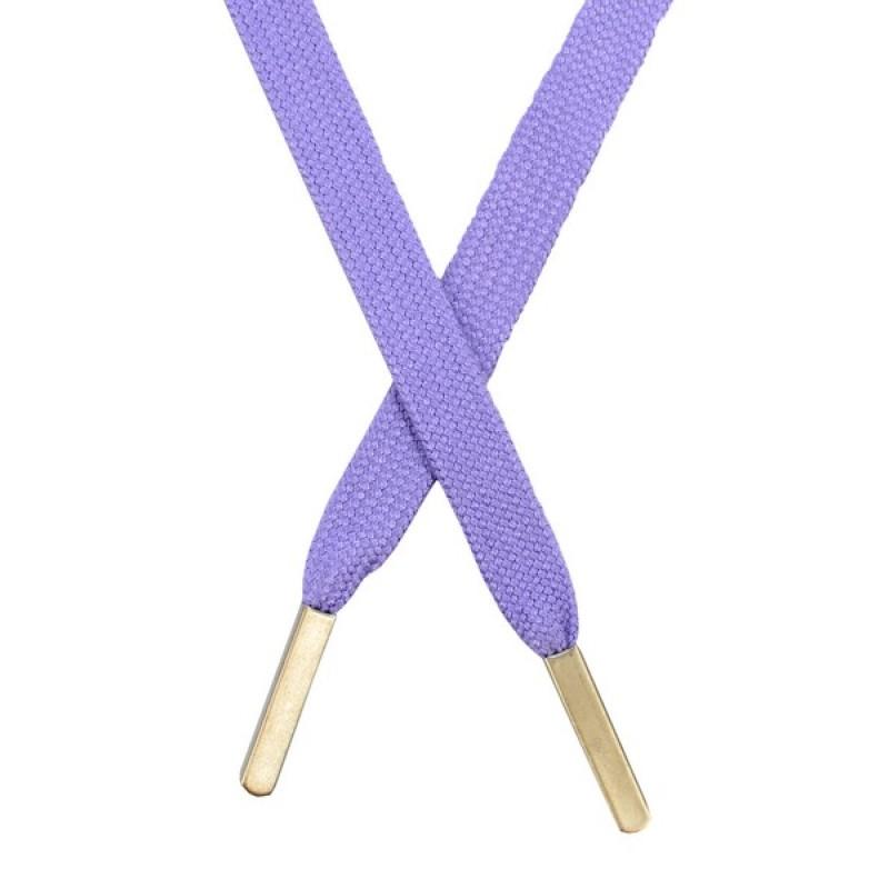 Шнур плоский хлопковый 1,2*130см, с наконечником, цв: сиреневый