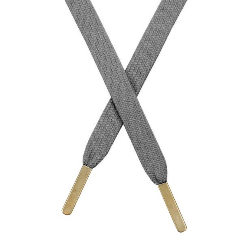Шнур плоский хлопковый 1,2*130см, с наконечником, цв: серый