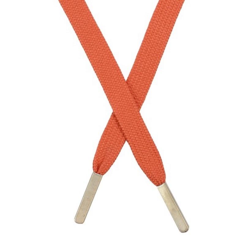 Шнур плоский хлопковый 1,2*130 см, с наконечником, цв: оранжевый