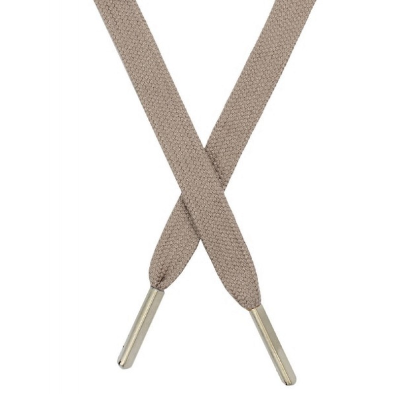 Шнур плоский хлопковый 1,2*130 см, с наконечником, цв: серо-бежевый