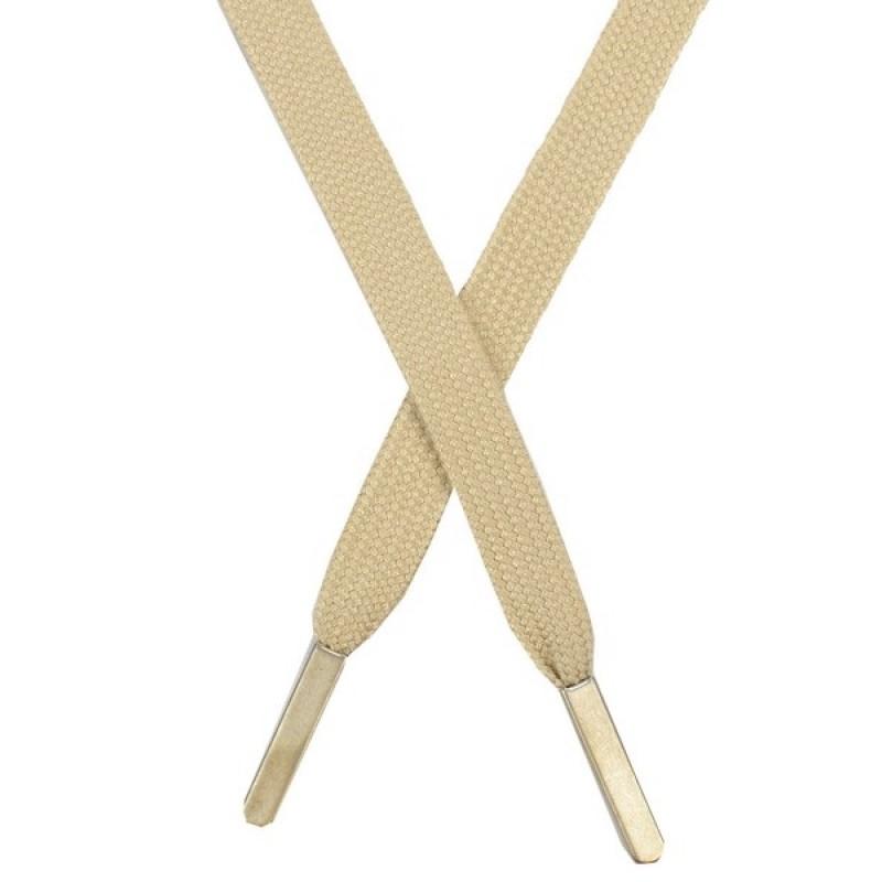 Шнур плоский хлопок 1,2*130см, с наконечником, цв: бежевый