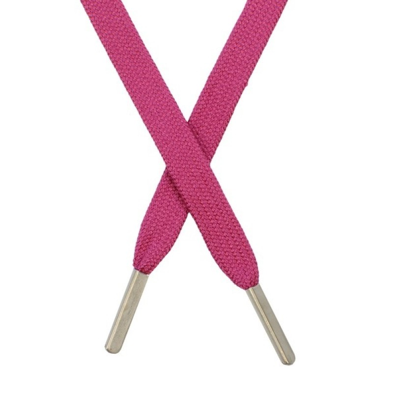 Шнур плоский хлопковый 1,2*130см, с наконечником, цв: розовый