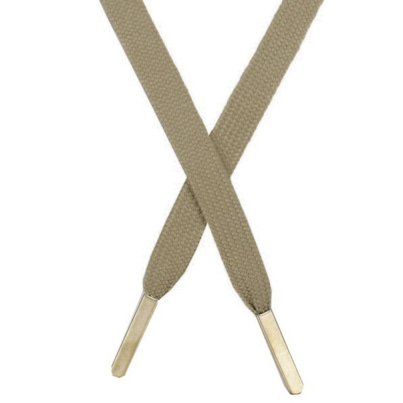Шнур плоский хлопок 1,2*145см с наконечником, цв: серо-бежевый