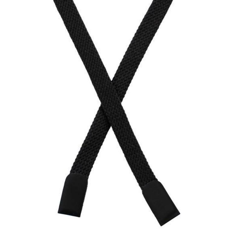 Шнур плоский хлопок 0,8*135см с наконечником, цв: черный
