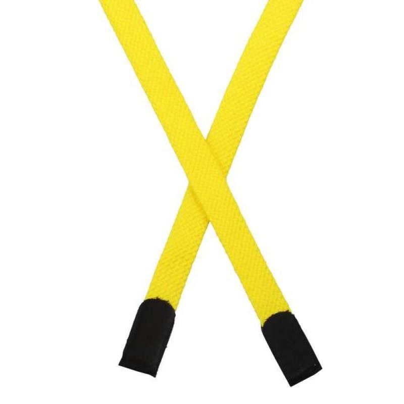 Шнур плоский хлопок 0,8*135см с наконечником, цв: желтый