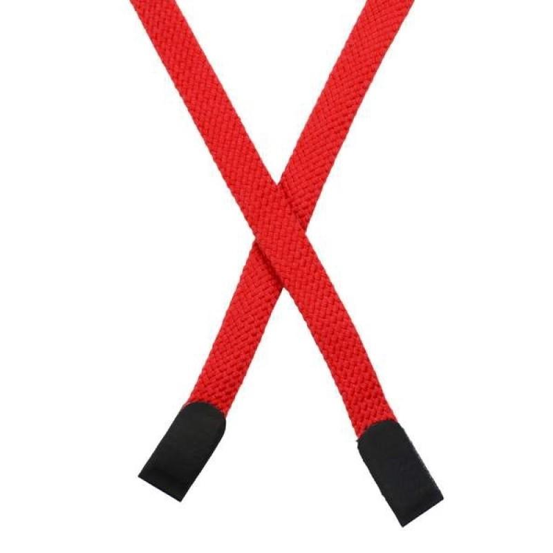 Шнур плоский хлопок 0,8*135см с наконечником, цв: оранжево-красный