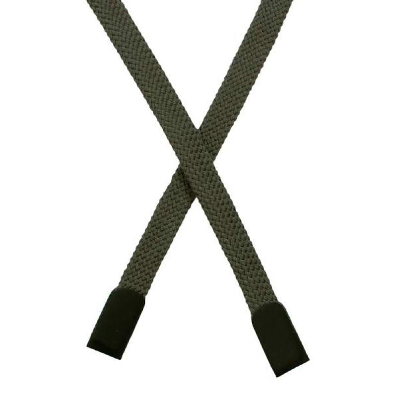 Шнур плоский хлопок 0,8*135см с наконечником, цв: светлый хаки