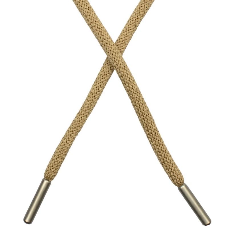 Шнур круглый п/э 0,5*130см с наконечником, цв: бежевый