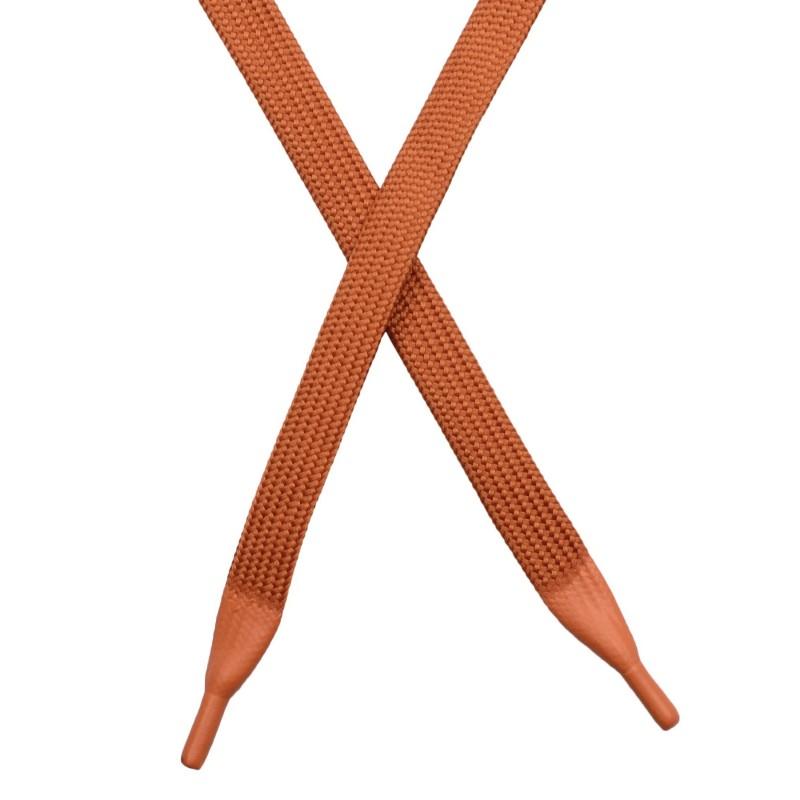 Шнур плоский полиэстер 1*130см с наконечником, цв: терракот