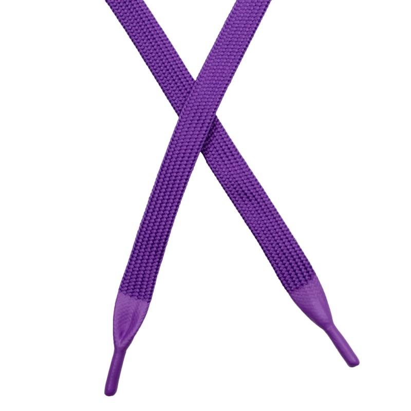 Шнур плоский полиэстер 1*130см с наконечником, цв: фиолетовый