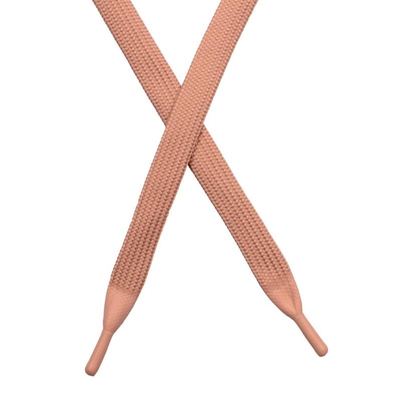 Шнур плоский полиэстер 1*130см с наконечником, цв: пудра