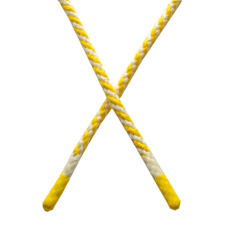 Шнур круглый плетенный хлопок 0,5*130см с наконечником, цв:желтый/белый