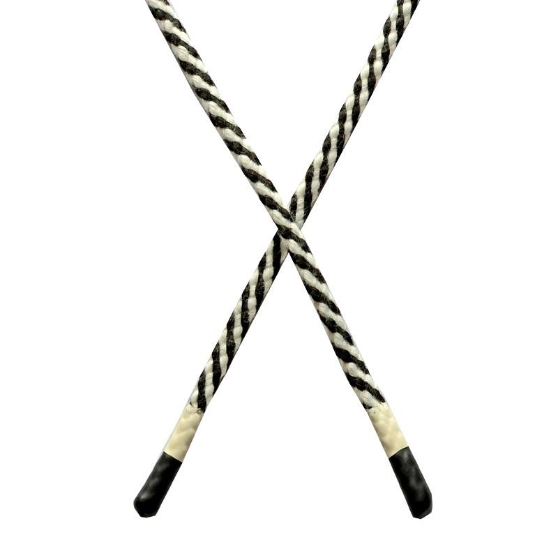 Шнур круглый плетенный хлопок 0,5*130см с наконечником, цв:черный/белый