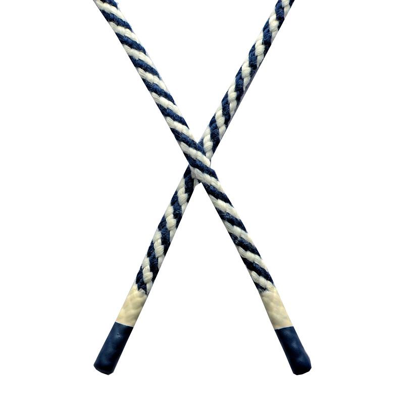 Шнур круглый плетенный хлопок 0,5*130см с наконечником, цв:т.синий/белый