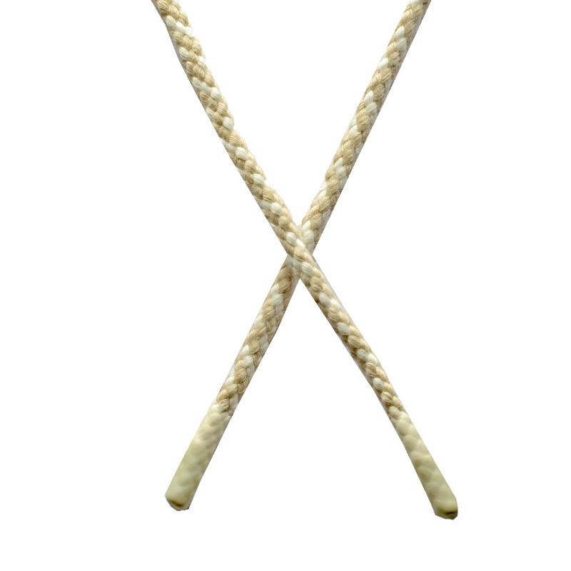 Шнур круглый плетенный хлопок 0,5*130см с наконечником, цв:св.бежевый/белый