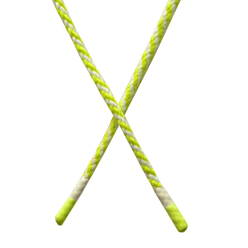 Шнур круглый плетенный хлопок 0,5*130см с наконечником, цв:салатовый/белый