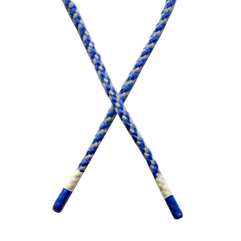 Шнур круглый плетенный хлопок 0,5*130см с наконечником, цв:синий/серый