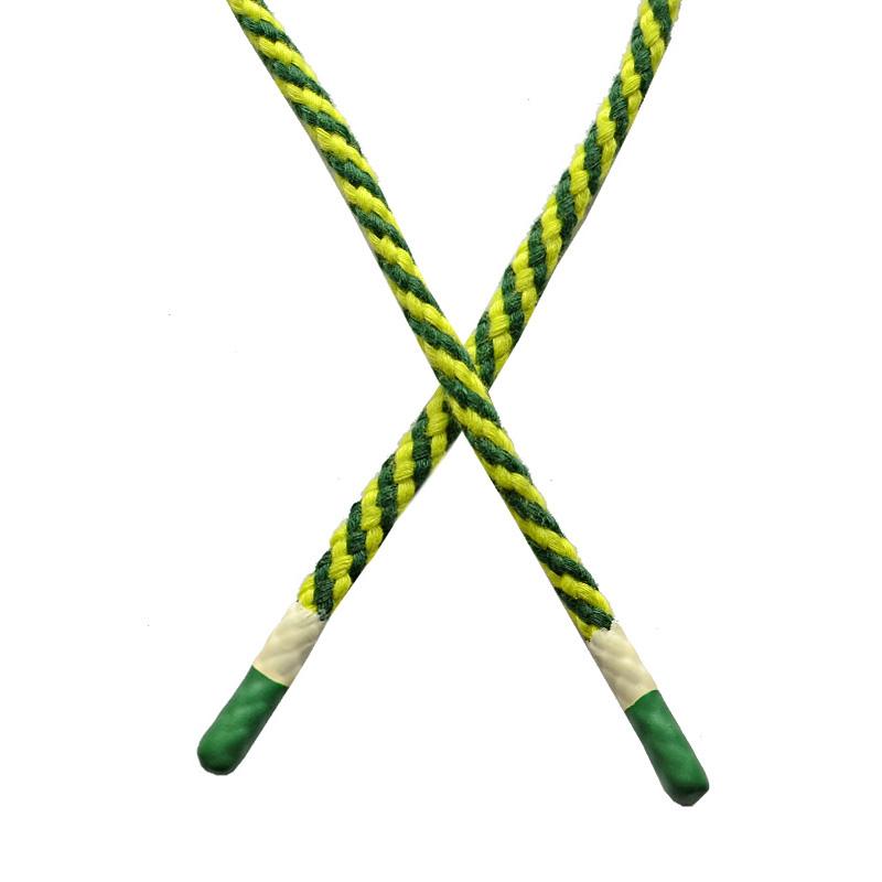 Шнур круглый плетенный хлопок 0,5*130см с наконечником, цв:зеленый/салатовый