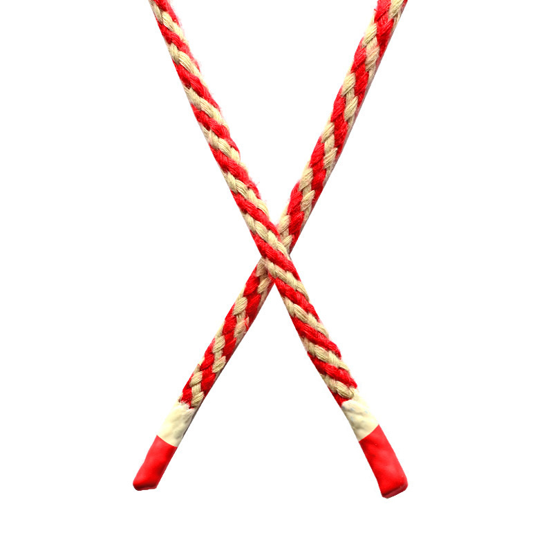 Шнур круглый плетенный хлопок 0,5*130см с наконечником, цв:красный/бежевый